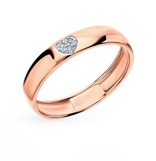 Золотое кольцо с бриллиантами ЮВЕРОС 12002: розовое золото 585 пробы, бриллиант — купить в интернет-магазине SUNLIGHT, фото, артикул 45602