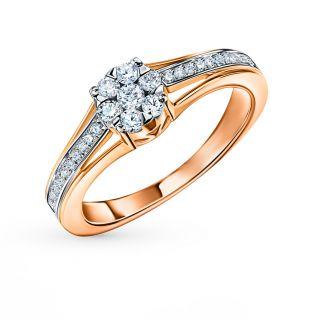 Золотое кольцо SUNLIGHT «Бриллианты Якутии»: красное и розовое золото 585 пробы, бриллиант — купить в интернет-магазине SUNLIGHT, фото, артикул 57830