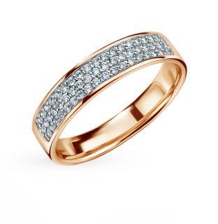 Золотое кольцо с бриллиантами SUNLIGHT: красное и розовое золото 585 пробы, бриллиант — купить в интернет-магазине Санлайт, фото, артикул 108790