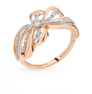 Золотое кольцо с фианитами КАЛИНА ЗОЛОТАЯ 1101013759*: красное и розовое золото 585 пробы, фианит — купить в интернет-магазине SUNLIGHT, фото, артикул 90457
