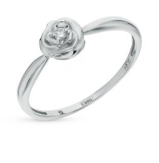 Золотое кольцо с бриллиантами SUNLIGHT: белое золото 585 пробы, бриллиант — купить в интернет-магазине Санлайт, фото, артикул 58108