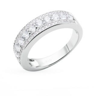 Серебряное кольцо с фианитами SUNLIGHT: белое серебро 925 пробы, фианит — купить в интернет-магазине Санлайт, фото, артикул 40111