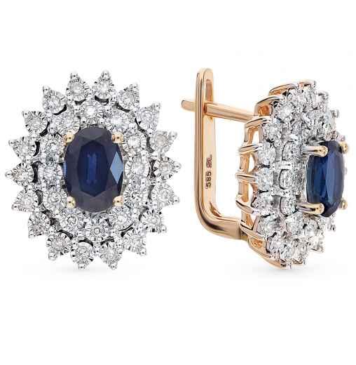 Серьги с 60 бриллиантами, 0.23 карат  2 сапфирами, 1.27 карат  Розовое  золото 585 пробы. −52% SUNLIGHT 97837d5f8d7