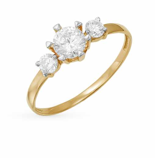 Золотые кольца 585 пробы с фианитом — купить недорого в каталоге с ... 08697a81dee04