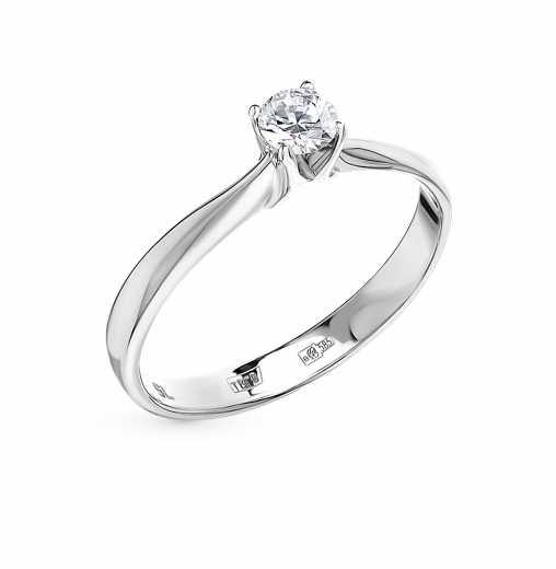 Кольцо «Бриллианты Якутии» с 1 бриллиантом, 0.189 карат  Белое золото 585  пробы −52% SUNLIGHT 91b9768e76f
