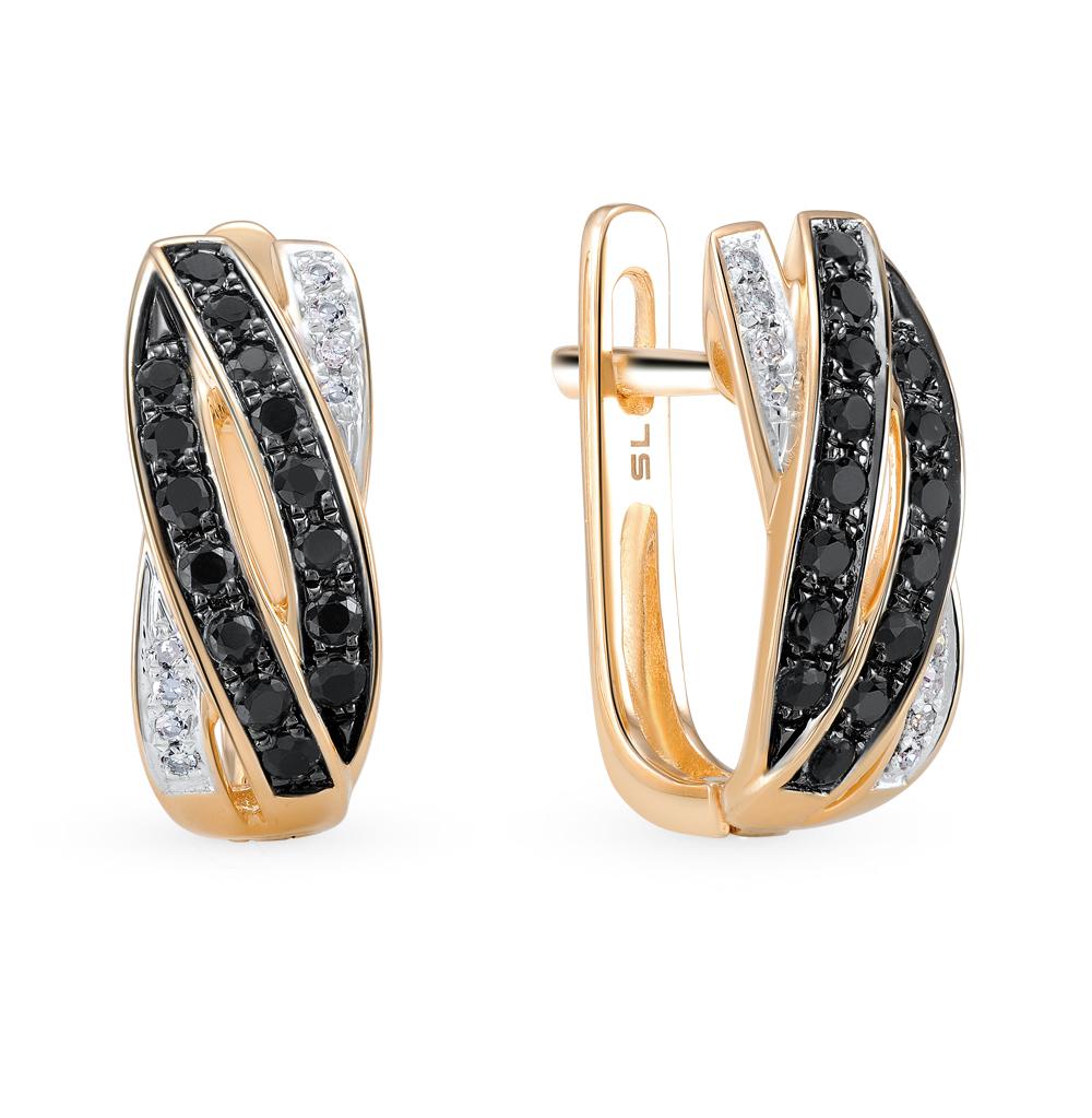Золотые серьги с чёрными бриллиантами в Екатеринбурге