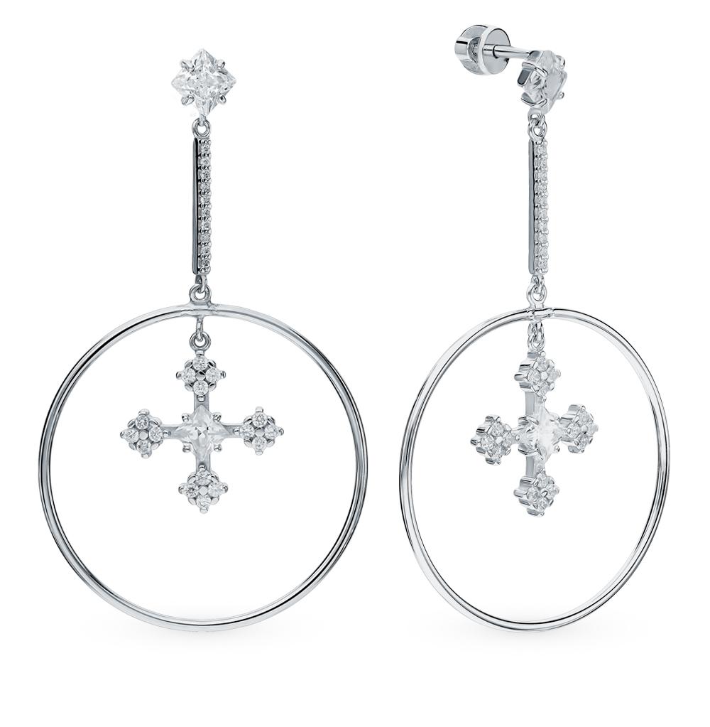 серебряные серьги с фианитами SOKOLOV 94023662