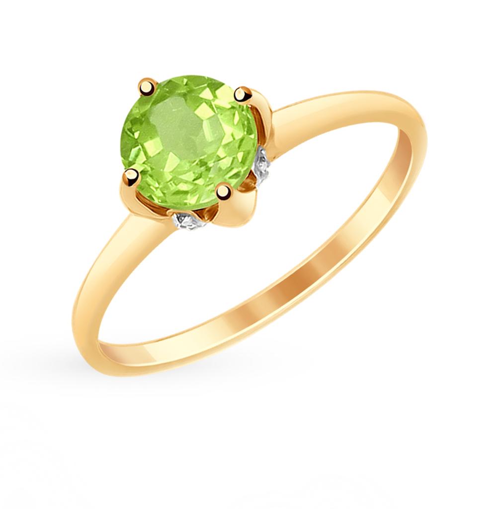 Фото «Золотое кольцо с хризолитом и фианитами SOKOLOV 714931»