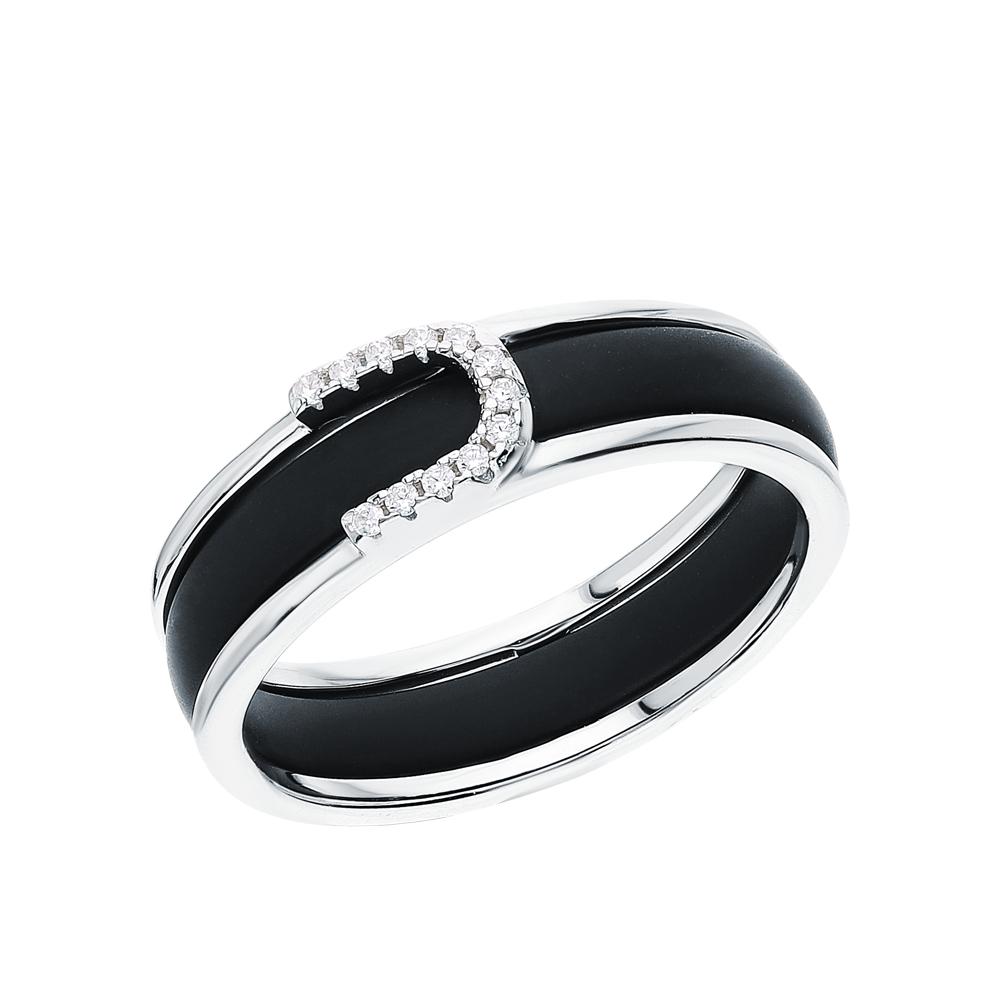 Серебряное кольцо с керамикой и кубическими циркониями в Екатеринбурге