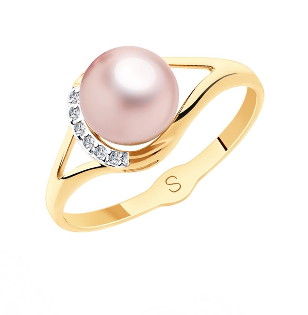 золотое кольцо с фианитами и жемчугом SOKOLOV 791128