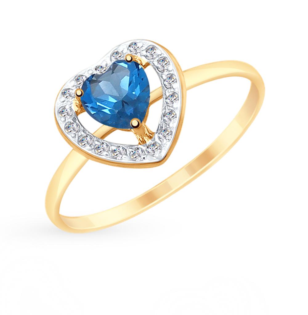 золотое кольцо с топазами и фианитами SOKOLOV 715156*