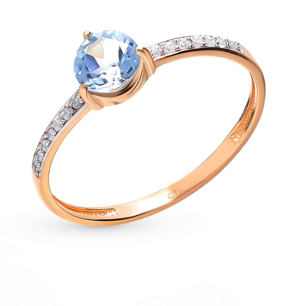 Золотое кольцо с топазами и фианитами в Санкт-Петербурге
