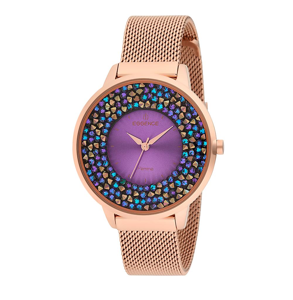 Женские часы D987.480 на стальном браслете с розовым IP покрытием с минеральным стеклом