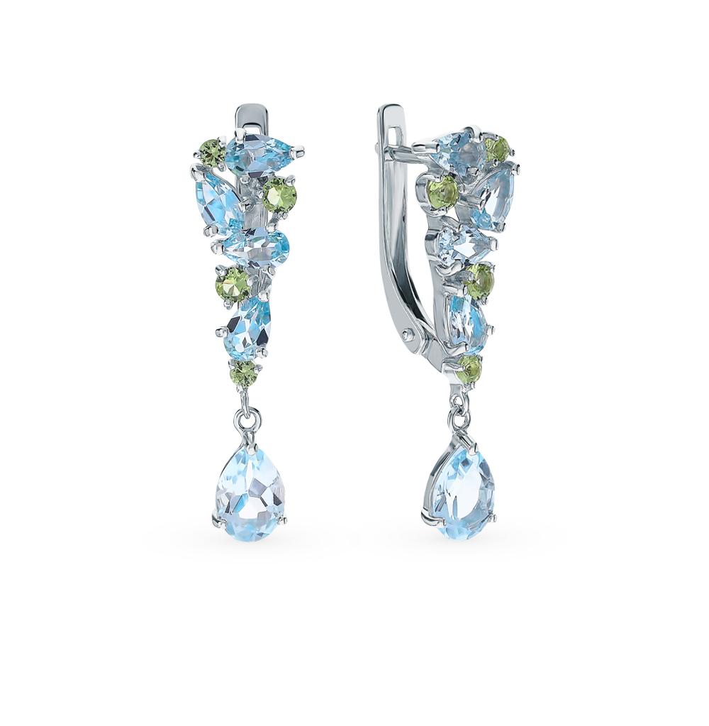 серебряные серьги с топазами и фианитами SOKOLOV 92021835