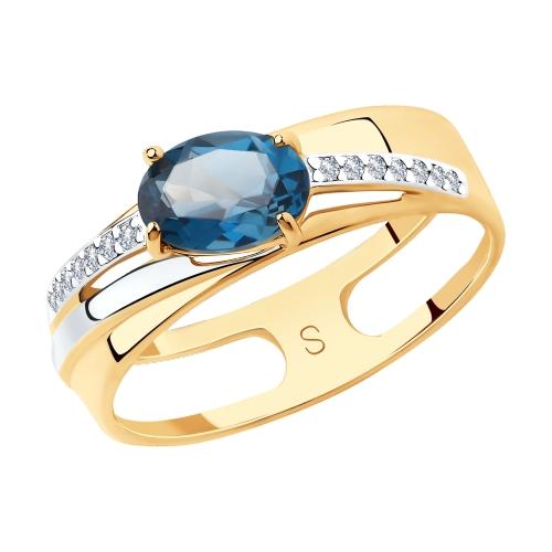 Фото «Золотое кольцо с топазом и фианитами SOKOLOV 715629*»