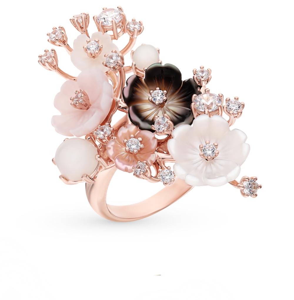 серебряное кольцо с фианитами, перламутром и кошачьими глазами