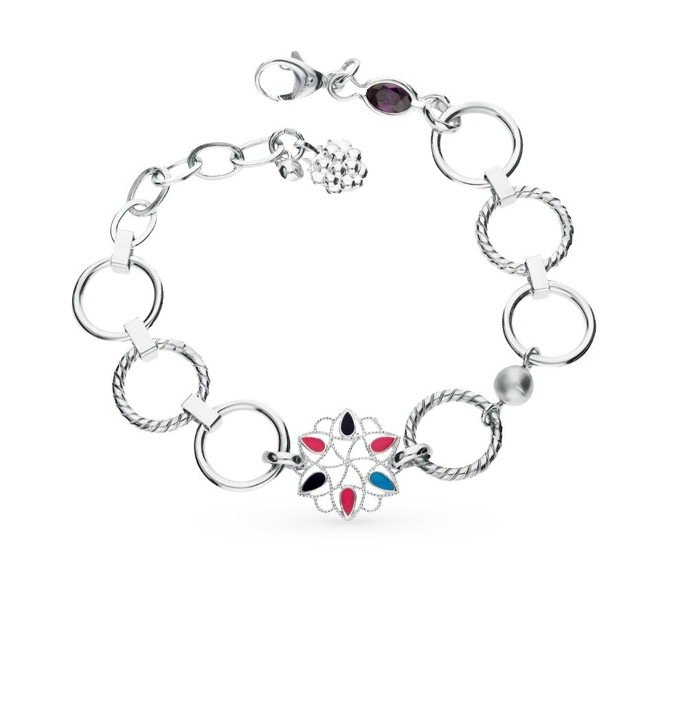 Фото «серебряный браслет с фианитами и эмалью»