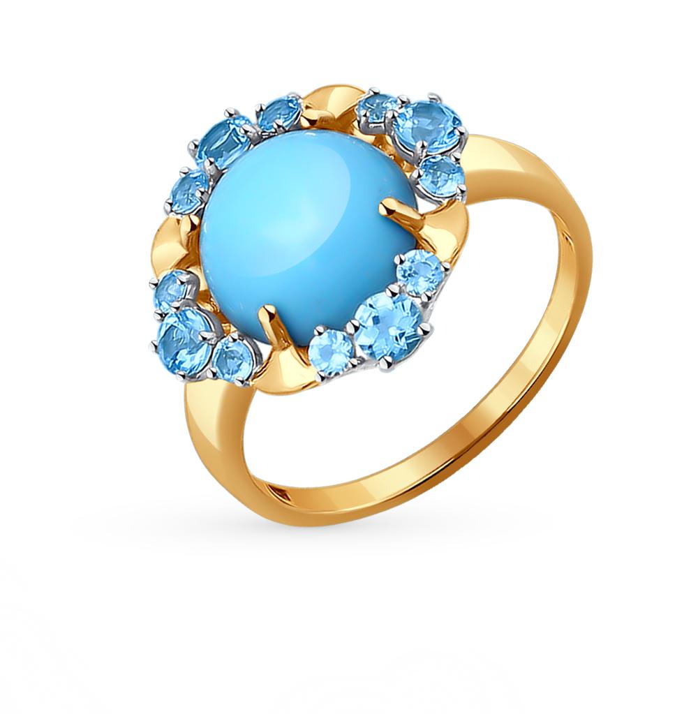 золотое кольцо с бирюзой и топазами SOKOLOV 714088*
