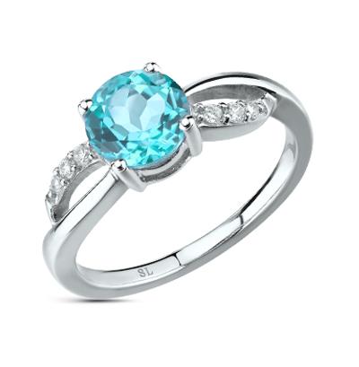 Фото «серебряное кольцо с алпанитом, топазами и фианитами»
