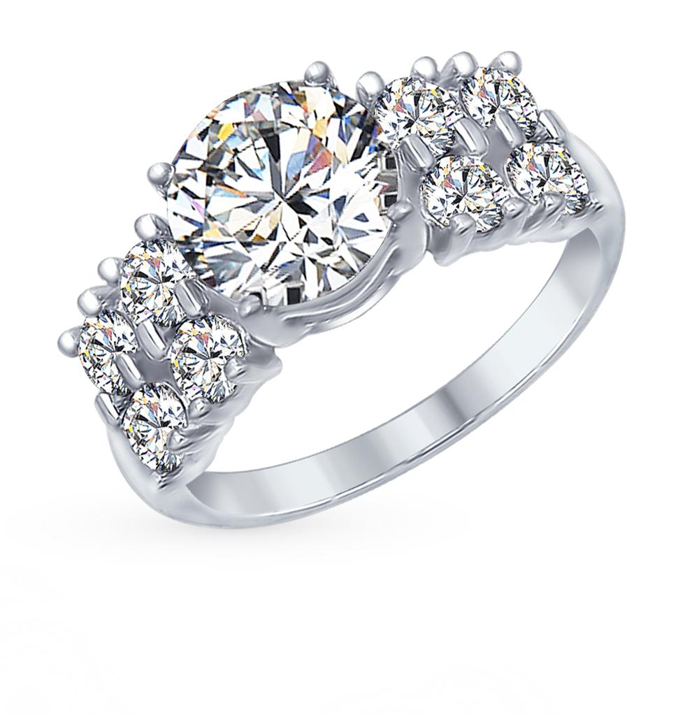 серебряное кольцо с фианитами и кубическими циркониями SOKOLOV 94012566