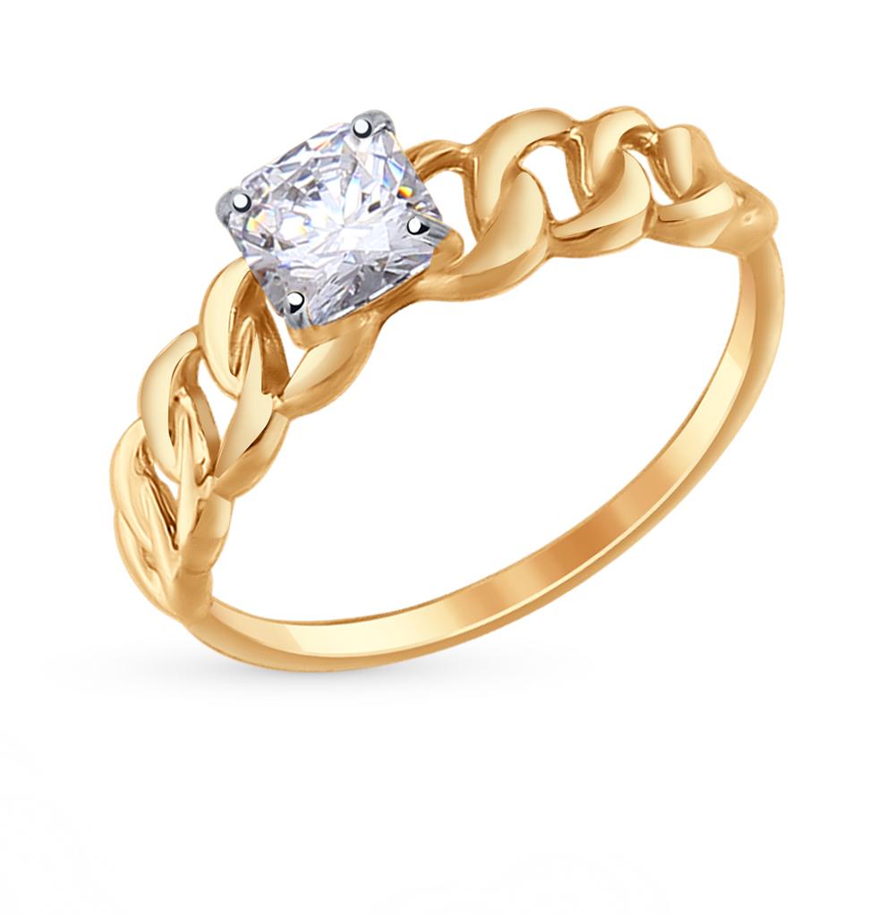 золотое кольцо с фианитами SOKOLOV 81010291*