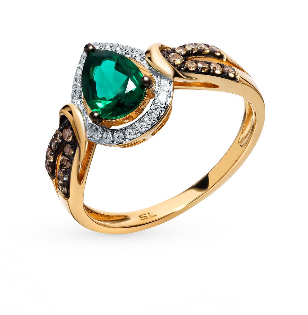 золотое кольцо с коньячными бриллиантами, изумрудами и бриллиантами