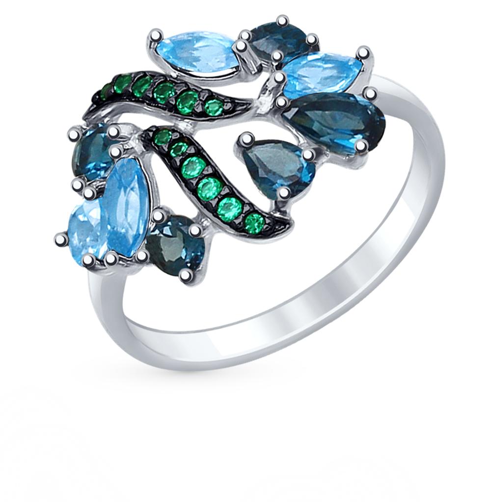 Серебряное кольцо с топазами и фианитами SOKOLOV 92011396 в Екатеринбурге