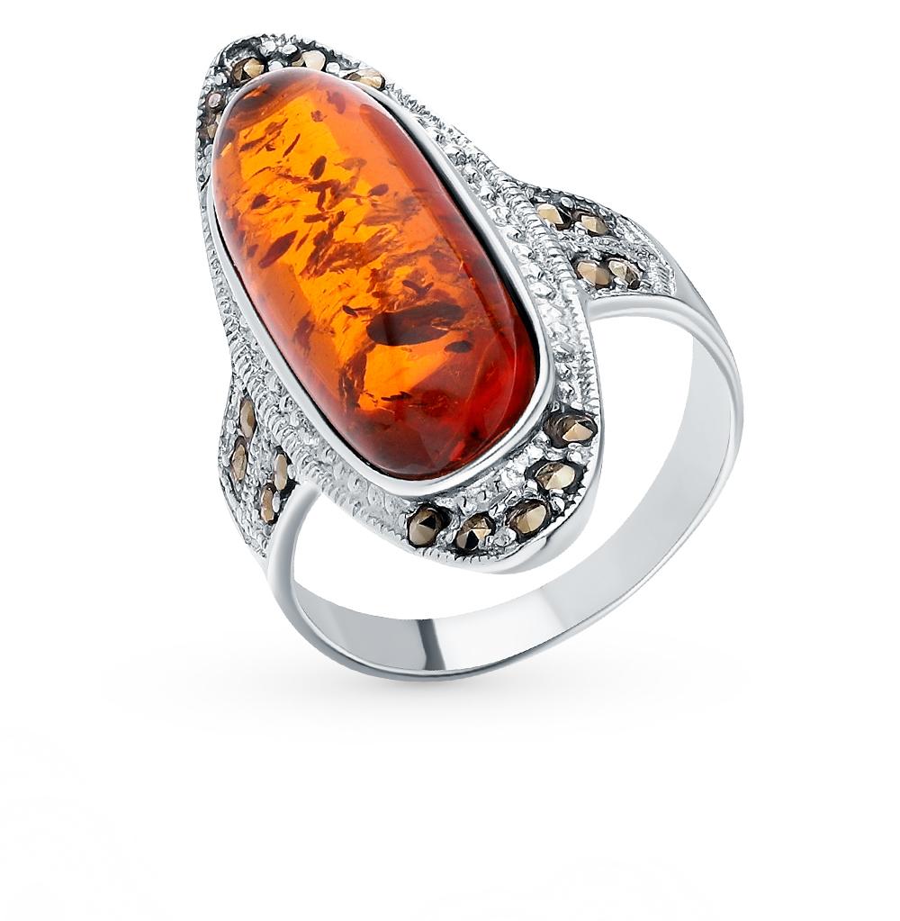 Фото «Серебряное кольцо с марказитами и янтарем»