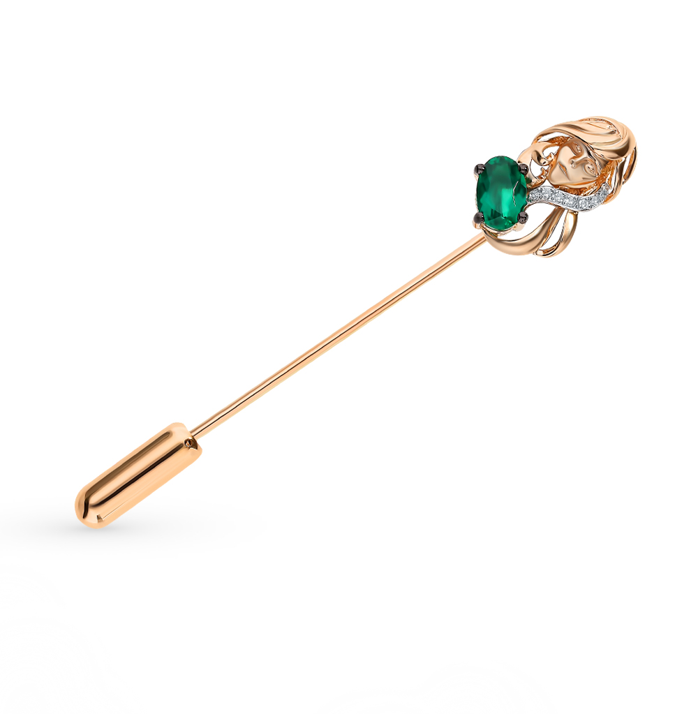 Фото «Золотая брошь с бриллиантами и изумрудом «Дева»»