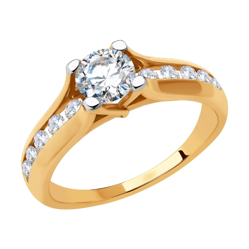 Фото «Золотое кольцо с фианитами SOKOLOV 018441*»