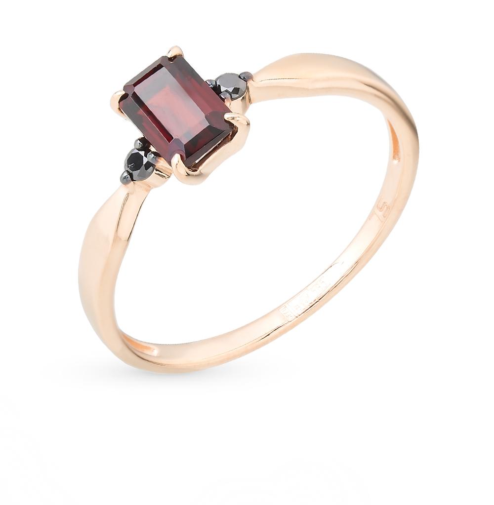 Золотое кольцо с гранатом и бриллиантами в Екатеринбурге