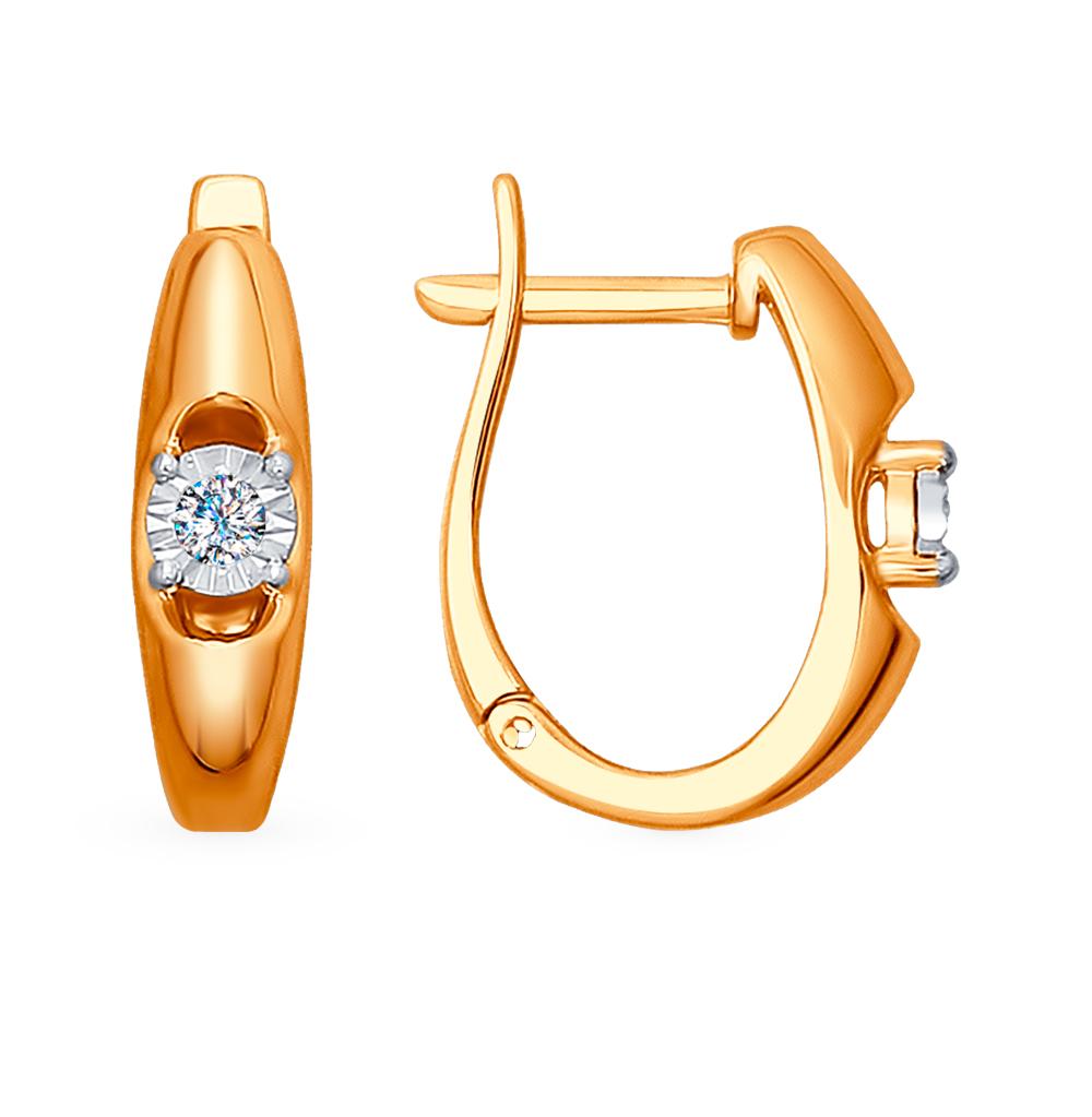 золотые серьги с бриллиантами SOKOLOV 1021131