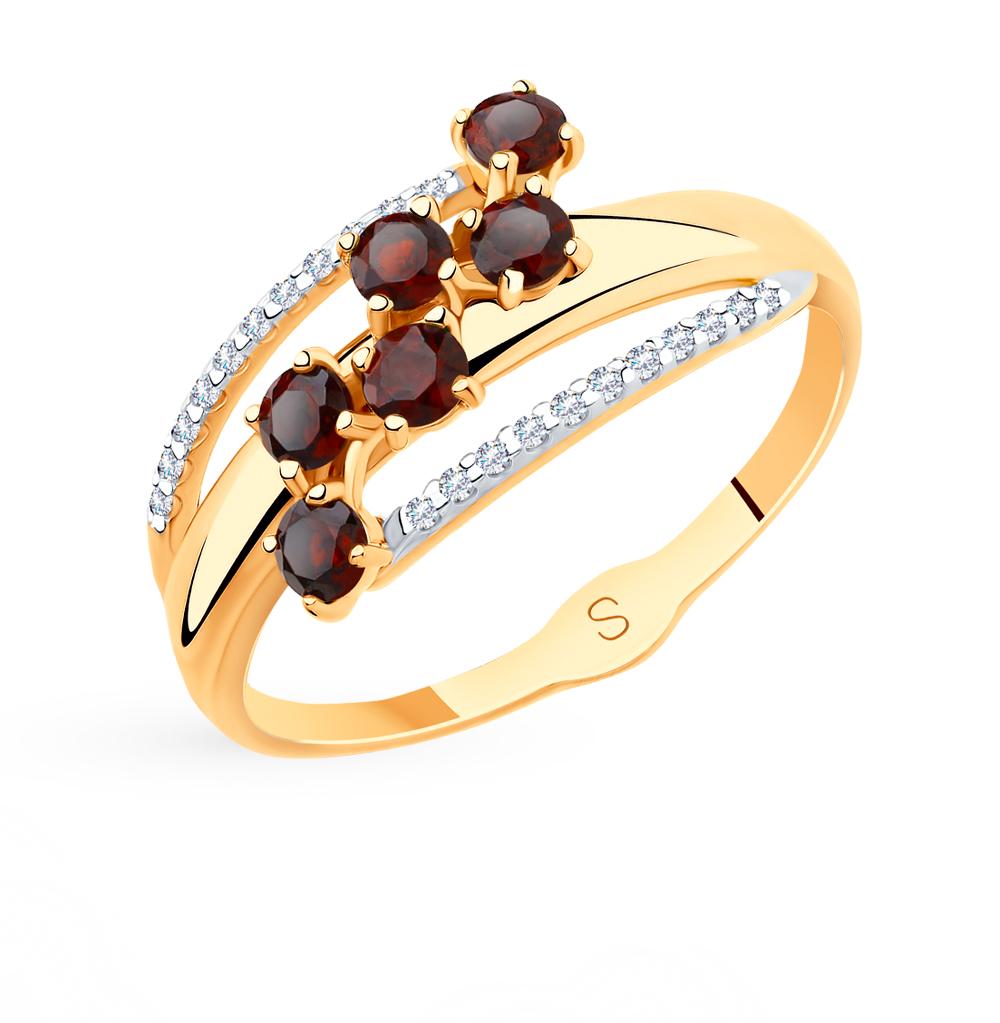 Золотое кольцо с фианитами и гранатом SOKOLOV 715541* в Екатеринбурге