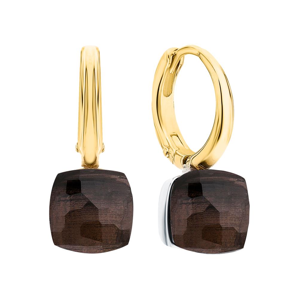 Фото «Золотые серьги с кварцами дымчатыми»