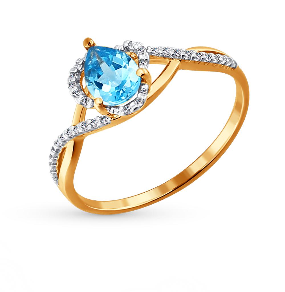 Фото «Золотое кольцо с топазами и фианитами SOKOLOV 713815*»