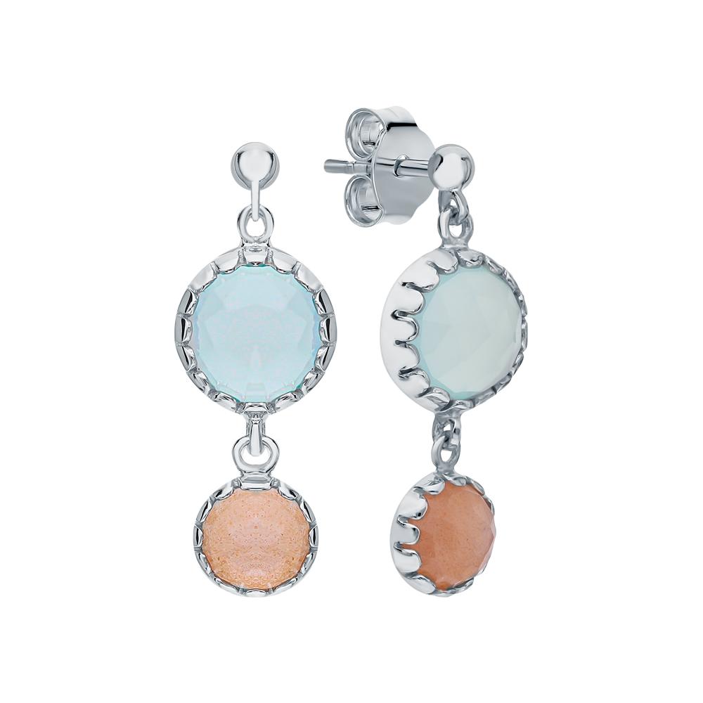 Фото «Серебряные серьги с халцедонами и лунными камнями»
