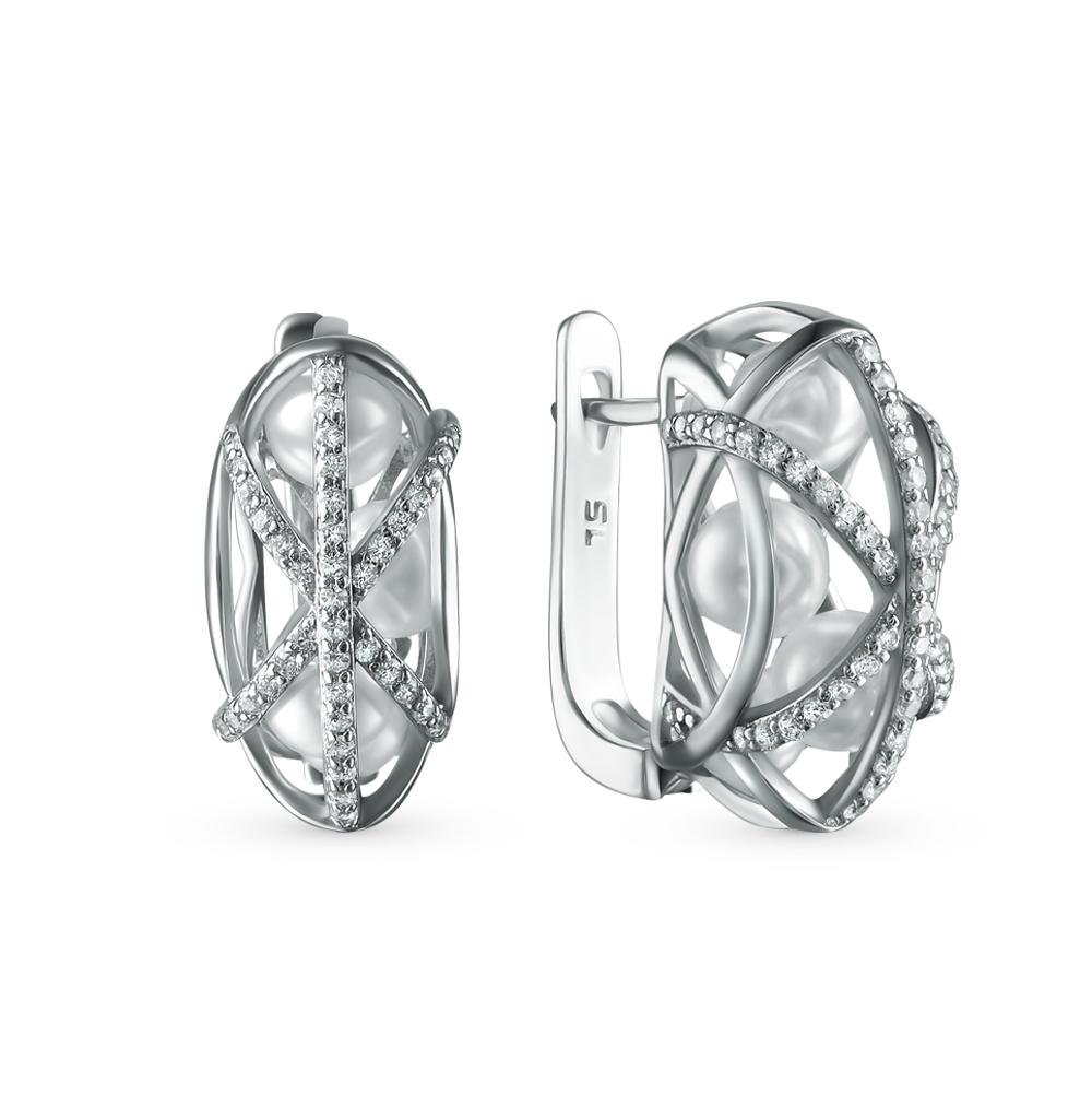 Фото «серебряные серьги с фианитами и жемчугами имитациями»