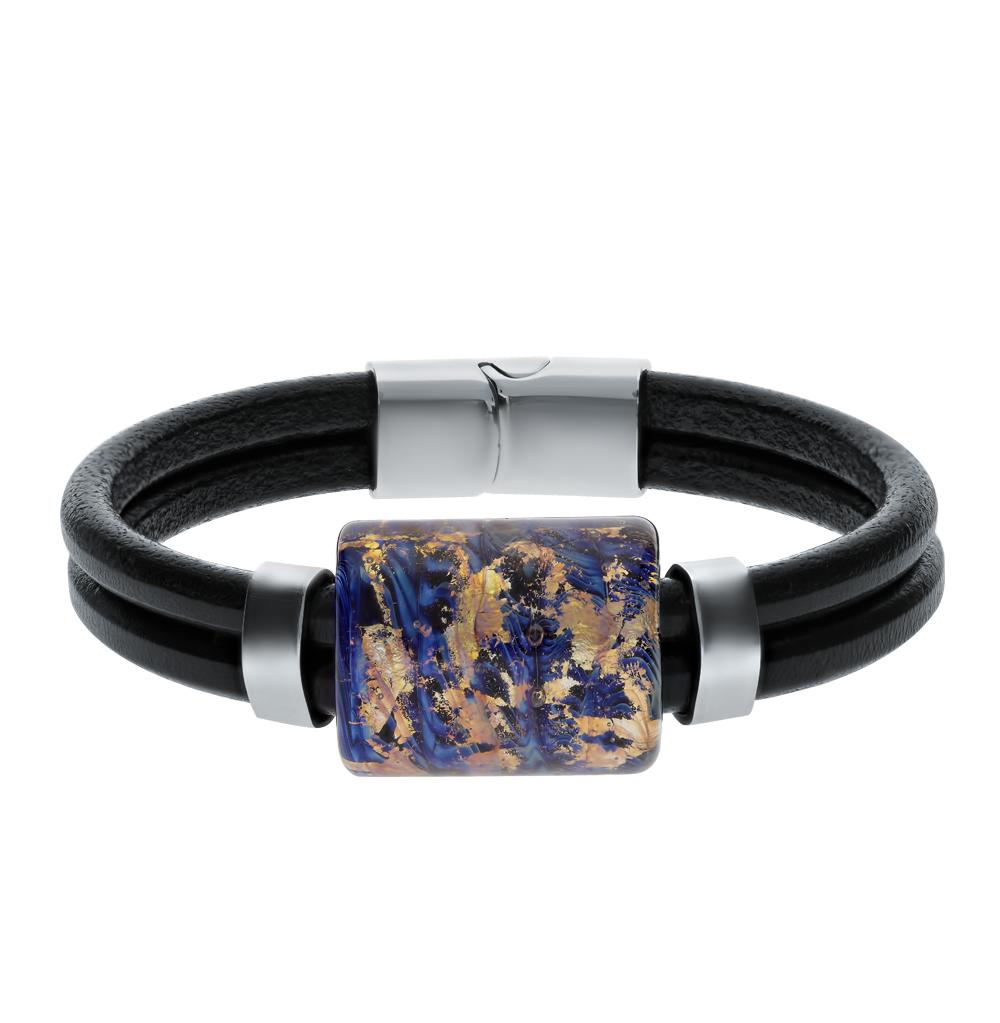 стальной браслет с муранскими стёклами