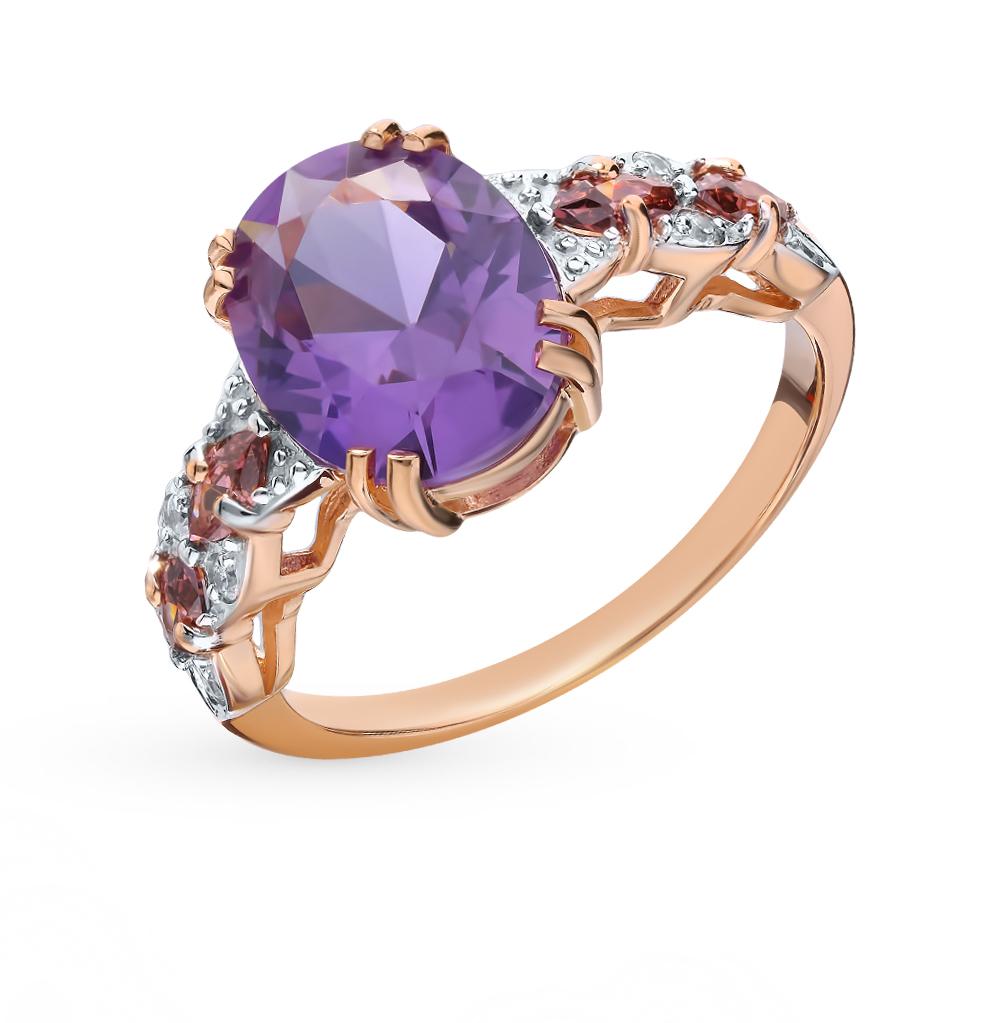 золотое кольцо с александритом и фианитами