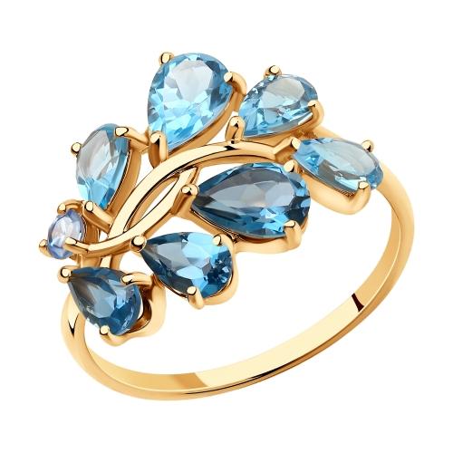 Фото «Золотое кольцо с топазами и фианитами SOKOLOV 715926»