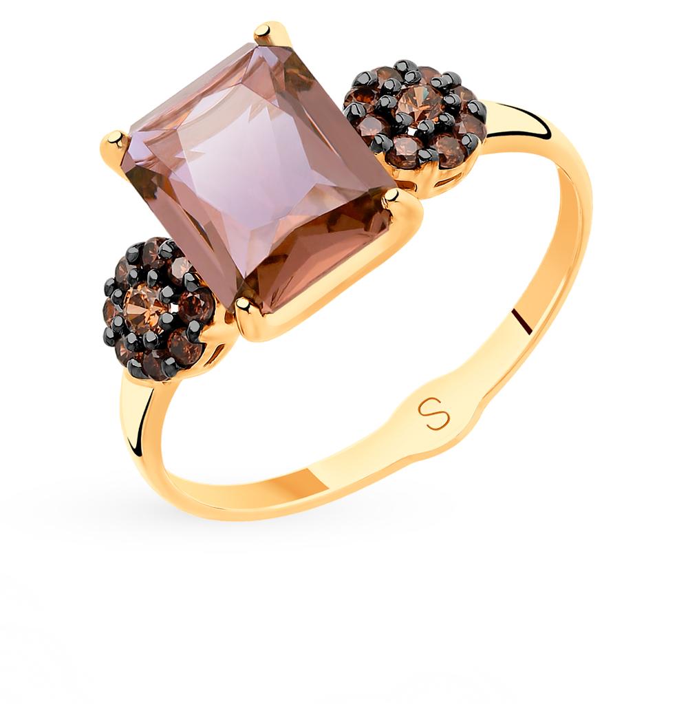 Фото «Золотое кольцо с фианитами и ситаллами SOKOLOV 715507*»