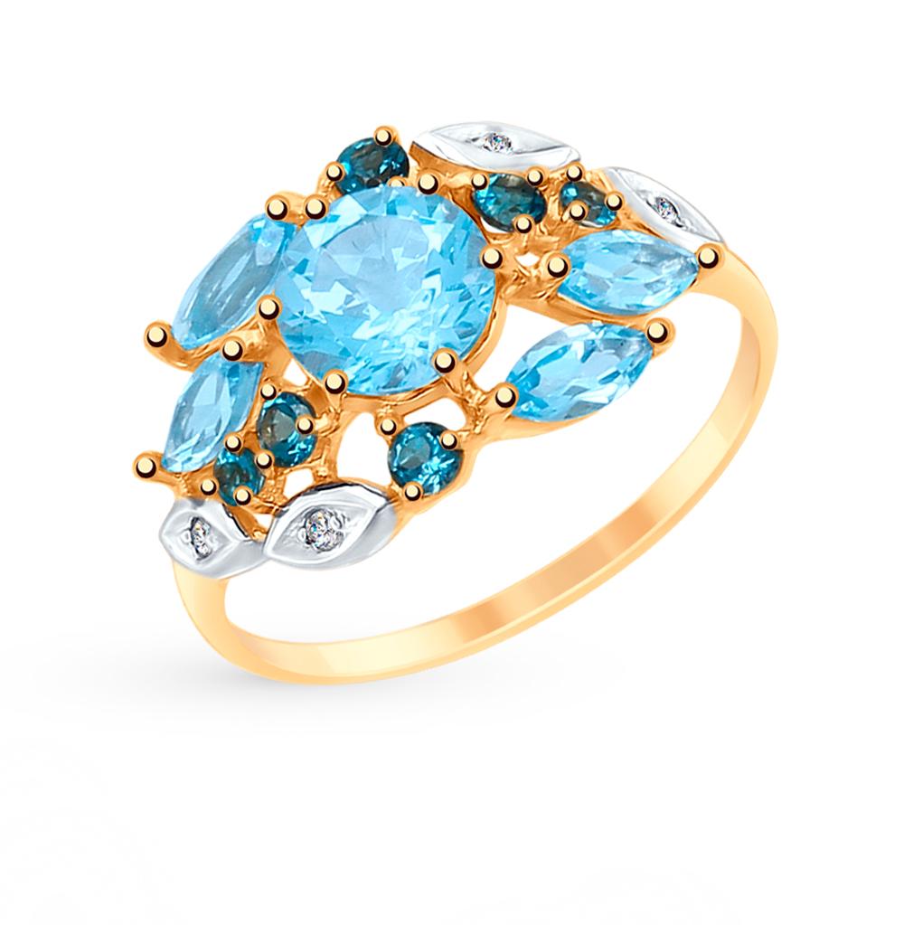 Фото «Золотое кольцо с топазами и фианитами SOKOLOV 715086*»