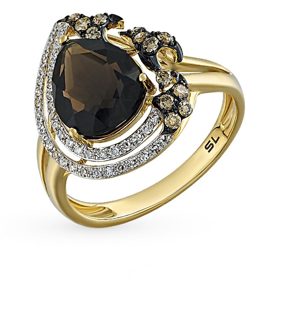 Фото «золотое кольцо с коньячными бриллиантами, раухтопазами (кварцами дымчатый) и бриллиантами»