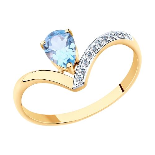 Фото «Золотое кольцо с топазами и фианитами SOKOLOV 715663»