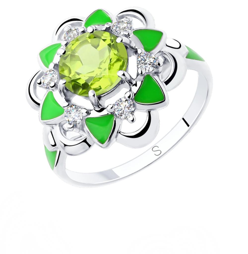 Фото «Серебряное кольцо с хризолитом, фианитами и эмалью SOKOLOV 92011805»
