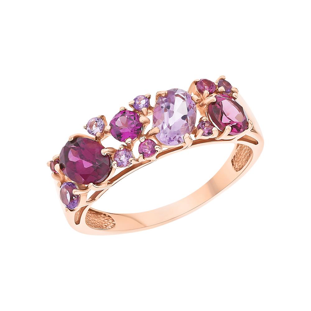 Фото «Золотое кольцо с родолитами и аметистом SOKOLOV 714175*»