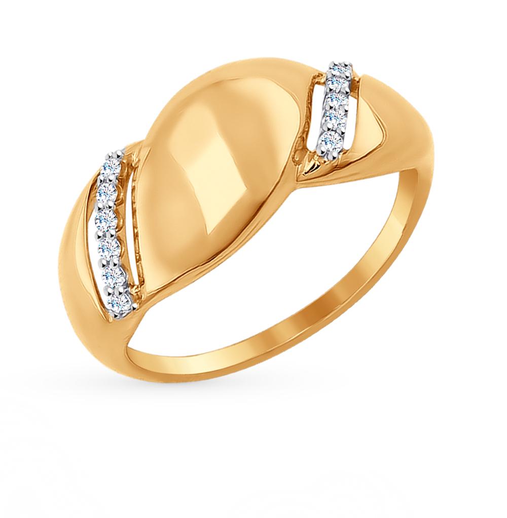 золотое кольцо с фианитами SOKOLOV 017015*
