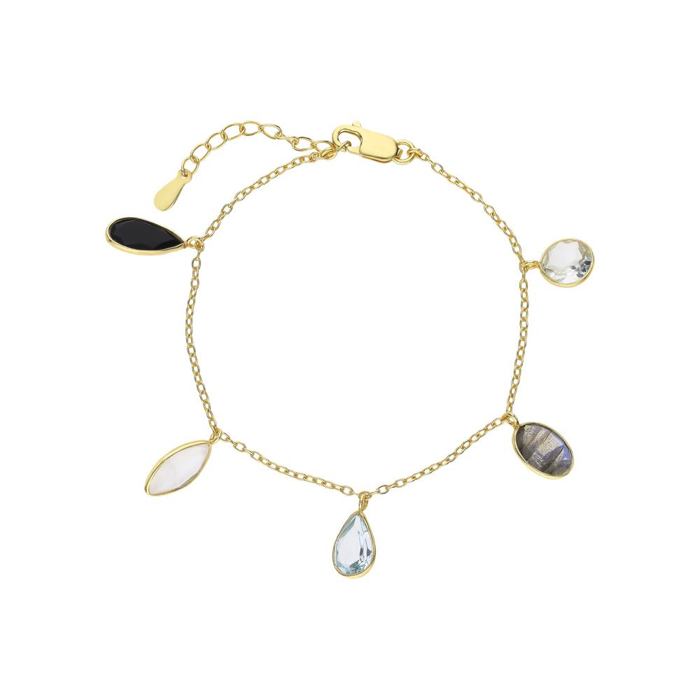 Фото «Серебряный браслет с ониксом, аметистом, топазами, лабрадоритами и лунными камнями»