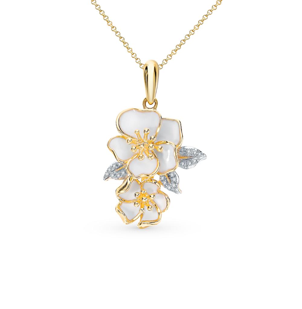 Золотая подвеска с эмалью и бриллиантами в Екатеринбурге