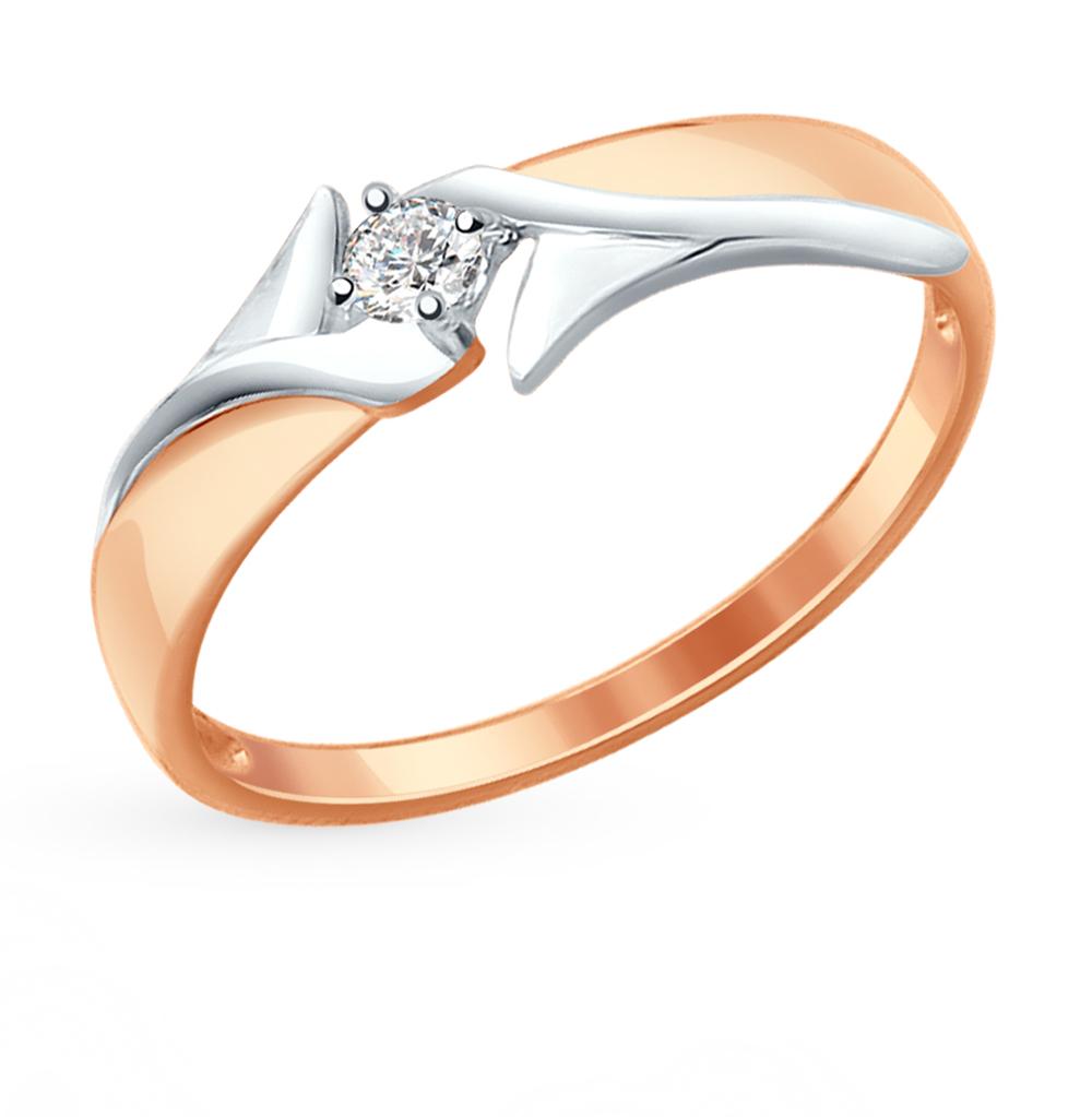 золотое кольцо с фианитами SOKOLOV 017282*
